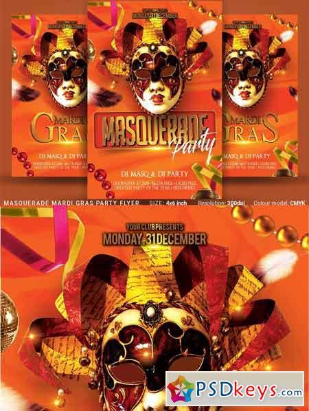 Masquerade Mardi Gras Party Flyer 3375517