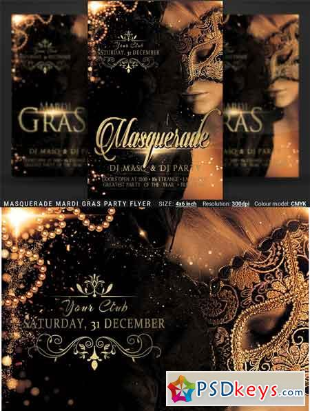 Masquerade Mardi Gras Party Flyer 3365455