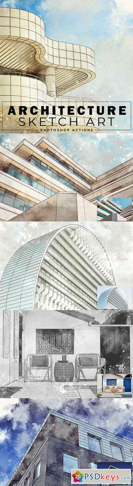 Architecture Sketch Art Photoshop Actions 22797617