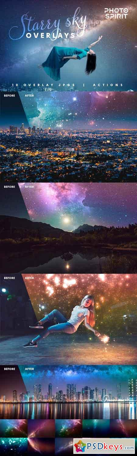 Night Sky Starry Overlays + Actions 23023016
