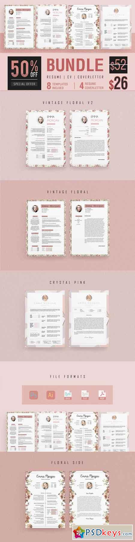 Pink Floral Resume BUNDLE Template M 3339673