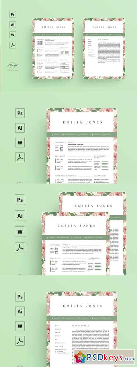 Floral Resume Template  Coverletter Template 2543339