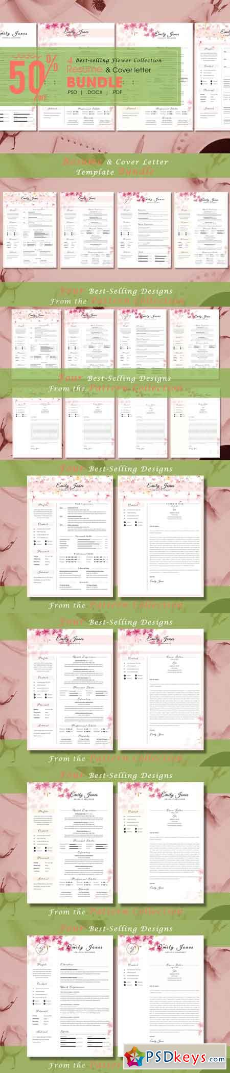 Resume CV Bundle Flower Collection 3336781