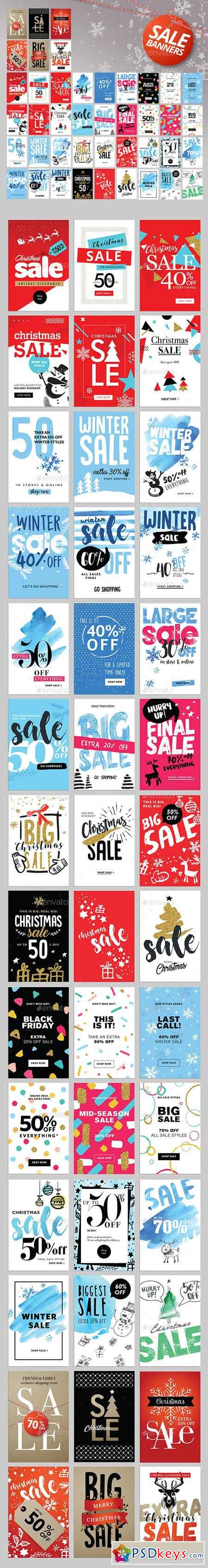 Set of Winter Mobile Sale Banners 18932239