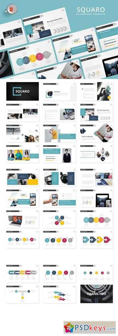 Squaro - Powerpoint, Keynote, Google Sliders Templates
