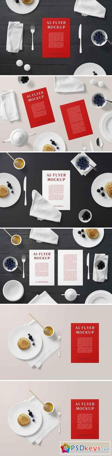 A5 Portrait Flyer Mockup - Breakfast Set