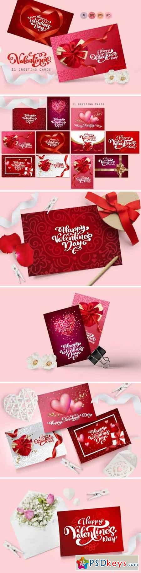 Valentine Vector Greeting Cards