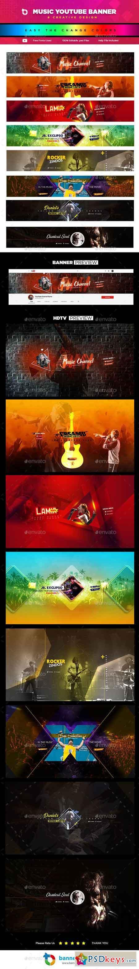 8 Creative Music YouTube Banners 23143457