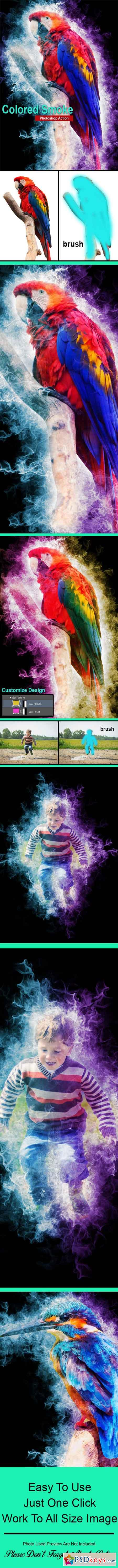 Colored Smoke Photoshop Action 23106077