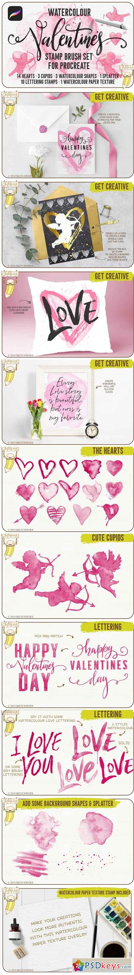 Watercolour Valentines Stamp Set 3378623