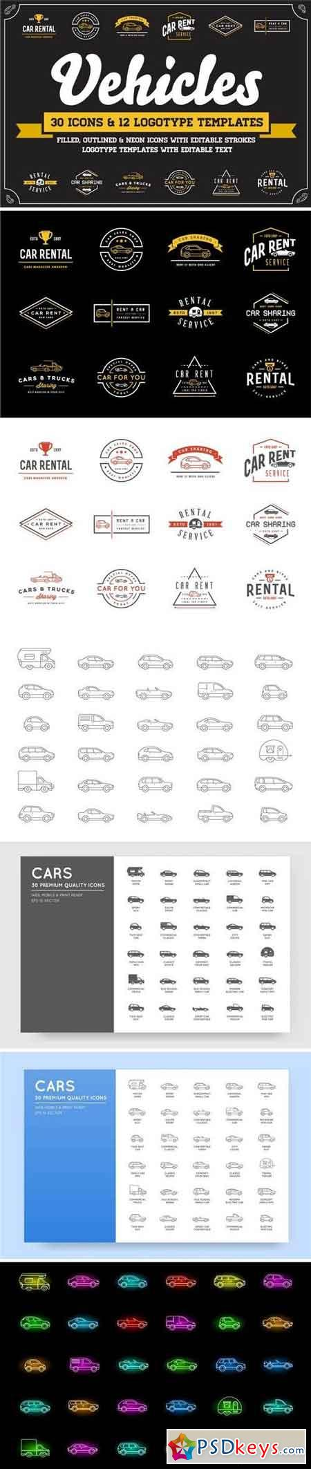 Awesome Vehicles Icons and Logo Set 3524401