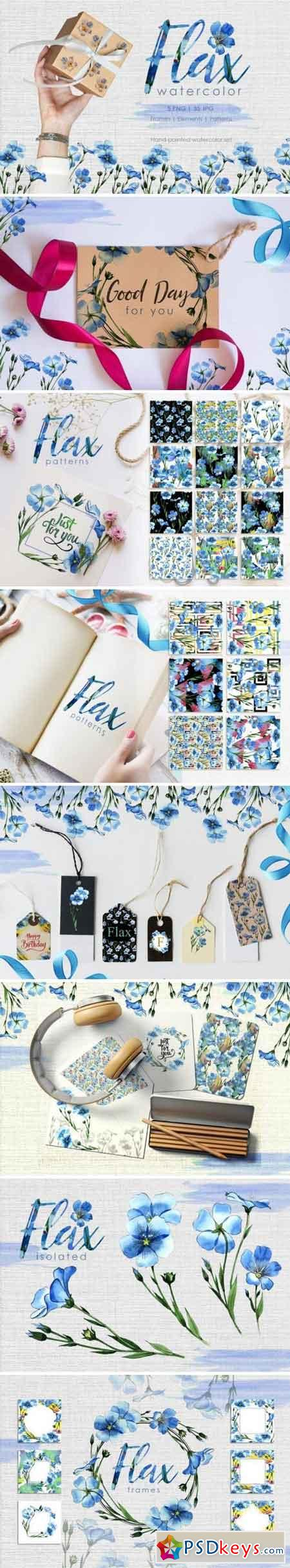 Flax blue Watercolor png 3358680