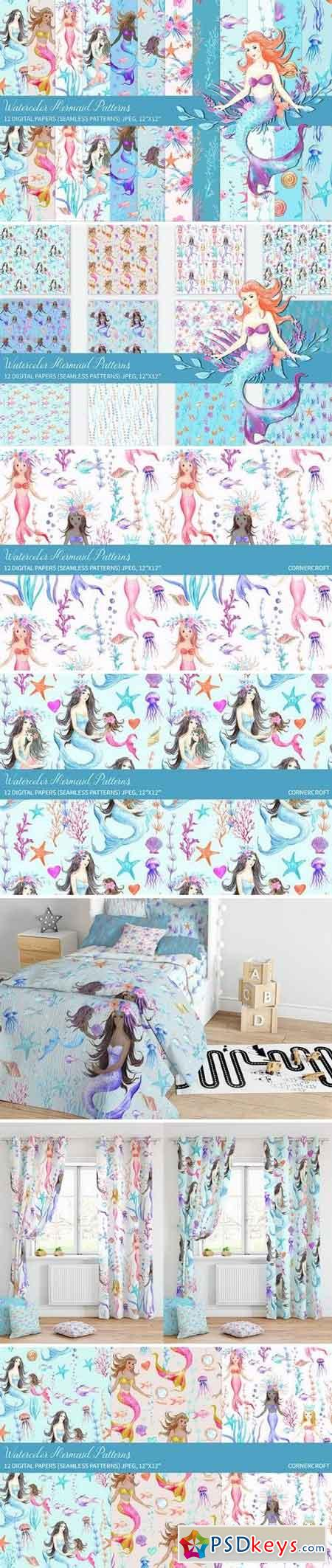 Watercolor Mermaid Digital Paper 3524469