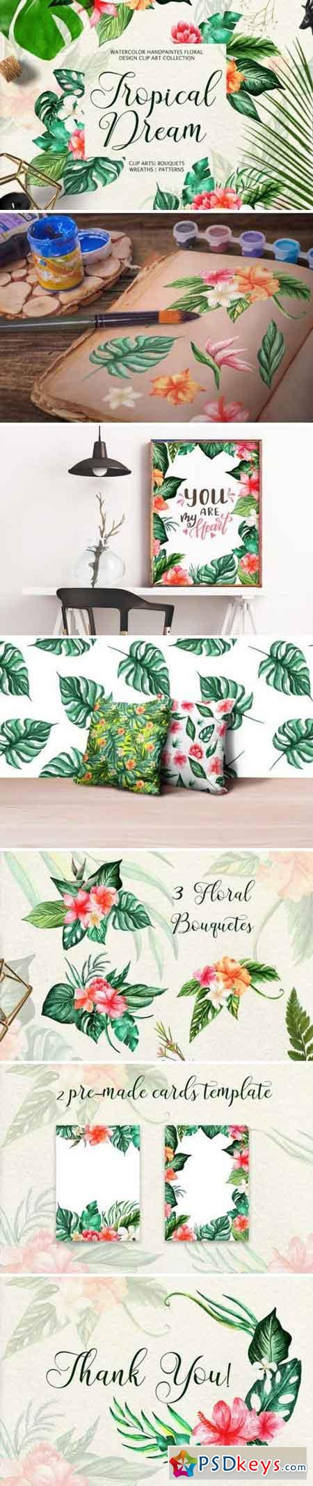 Tropical Dream-watercolor set 3370361