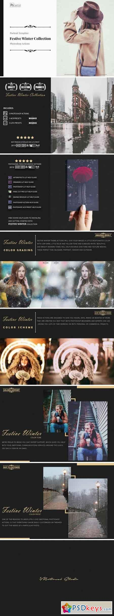 Neo Festive Winter Story Color Grading photoshop actions 3524674