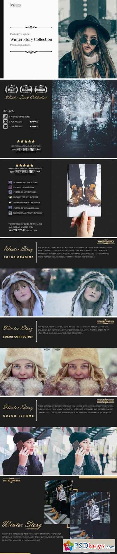 Neo Winter Story Color Grading photoshop actions 3524667