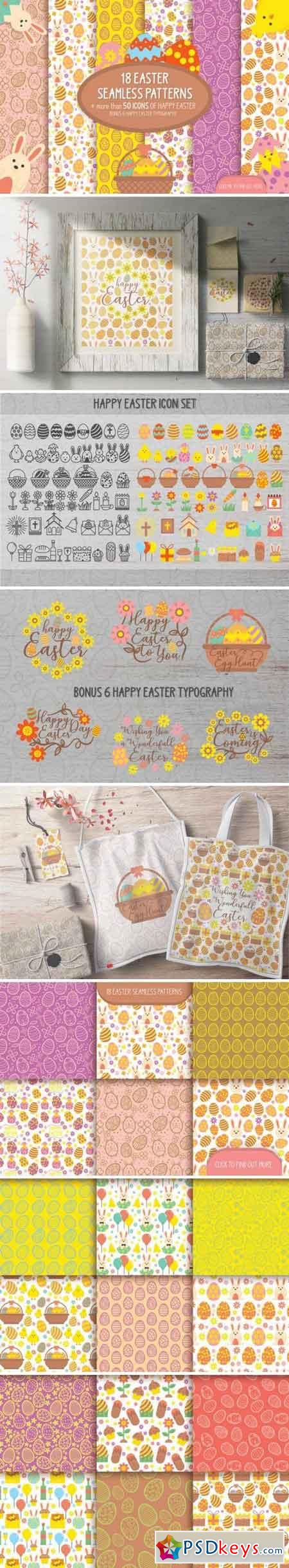 18 Easter seamless patterns & icons 2369644