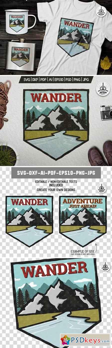 Wanderlust Badge Vintage Travel Logo Patch SVG