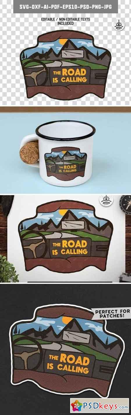 Road Trip Badge Vintage Travel Logo Camp Patch