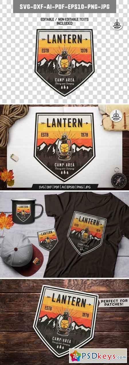 Camp Lantern Badge Vintage Travel Logo Patch SVG