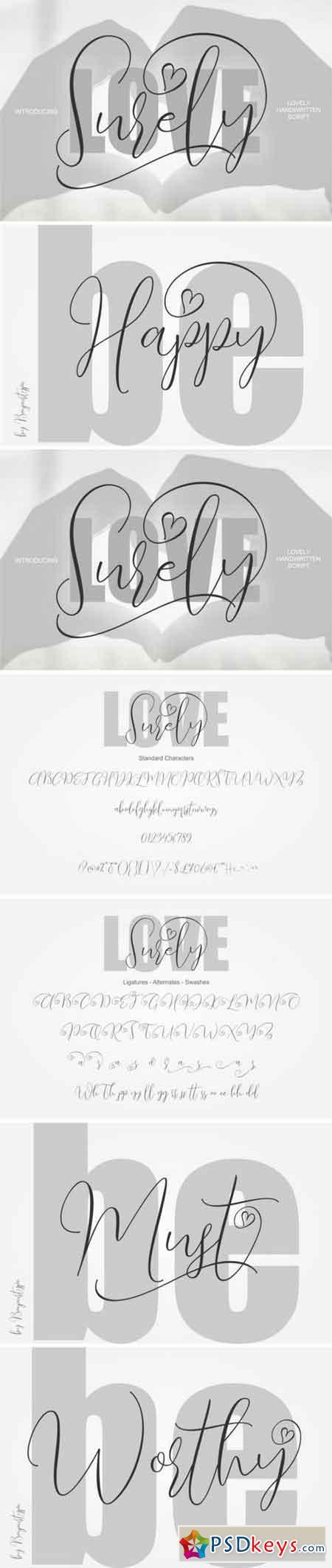 Love Surely Handwritten Script 195819