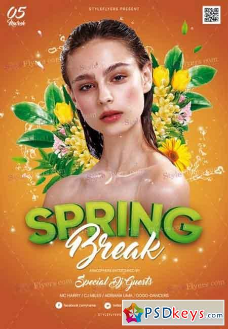 Spring Break 6 PSD Flyer Template