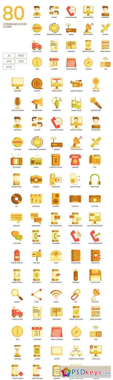 80 Communication Icons Caramel Series