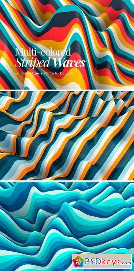 Multi-colored Striped Waves Backgrounds