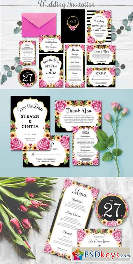 Wedding Invitation set flowers 3518819