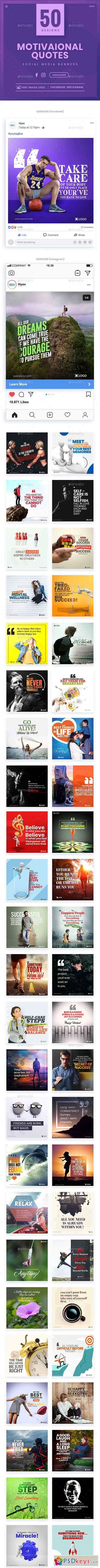 Quotes Facebook and Instagram Banner Set - 50 Designs 23137168