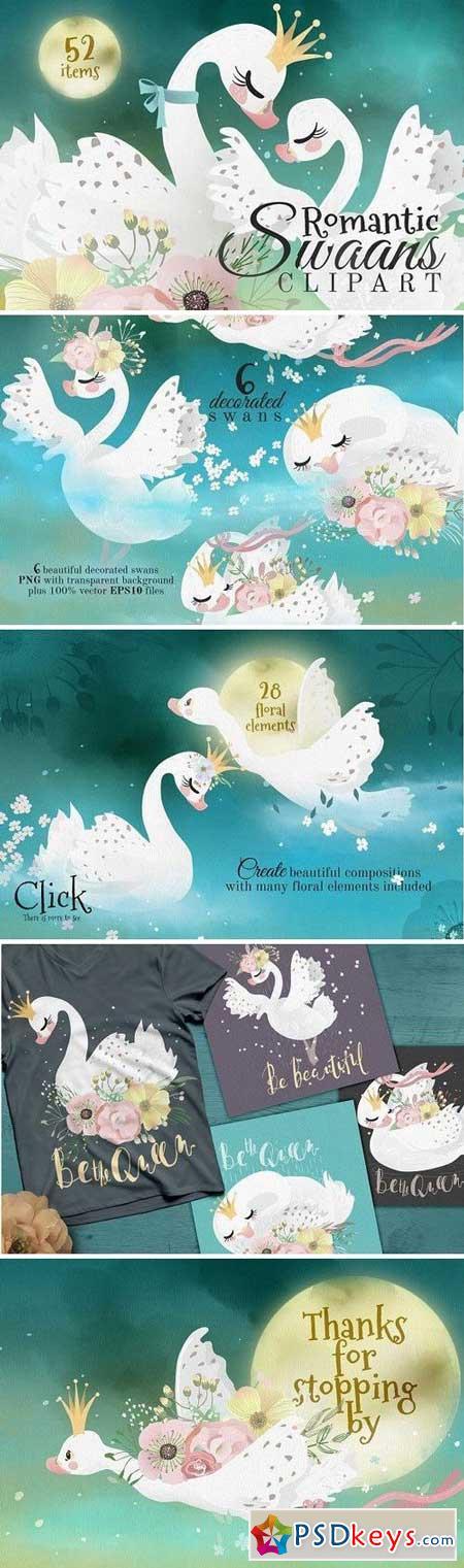 Romantic Swans Clipart 2244992