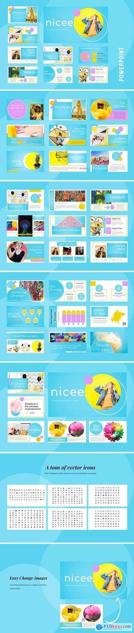 Nicee - Colorful Powerpoint, Keynote, Google Sliders Templates