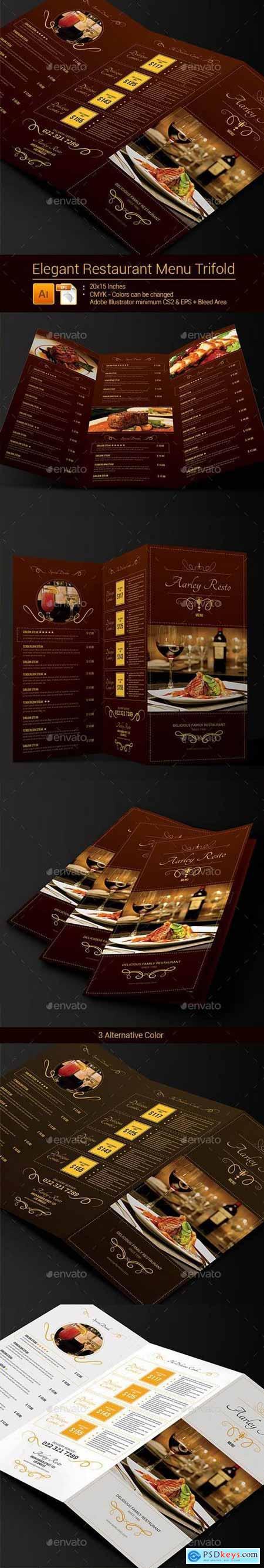 Elegant Restaurant Menu Trifold 9137918
