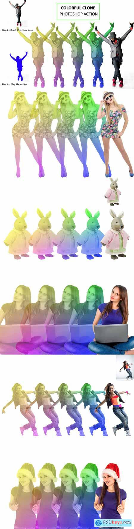 Colorful Clone Photoshop Action 3163427