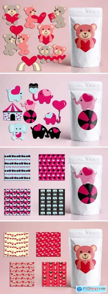 Valentine Teddy Bear and Elephant