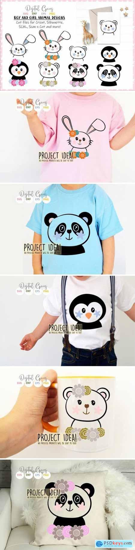 Rabbit, Penguin, Bear, Panda designs