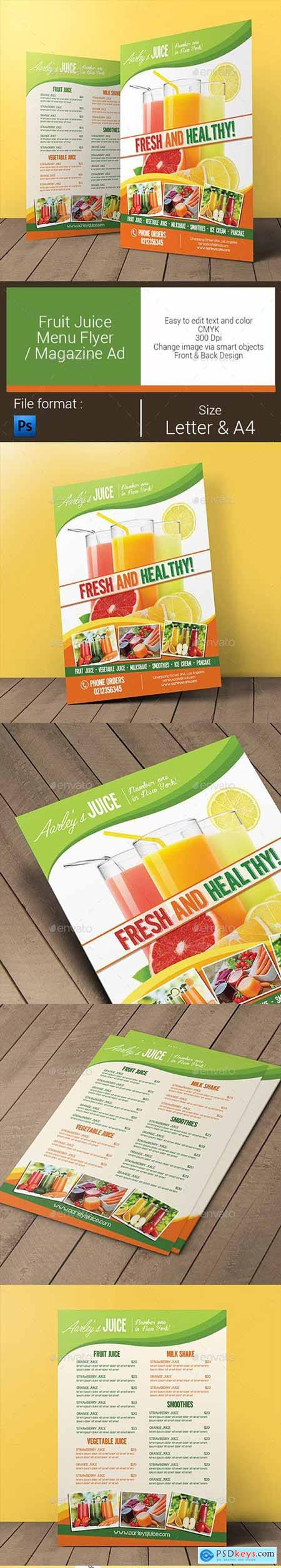 Fruit Juice Menu Flyer Magazine Ad 11027875