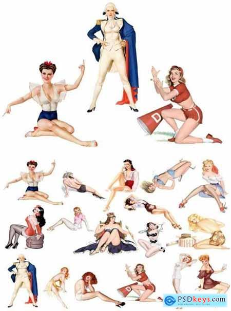 Pin Up Girls Clipart