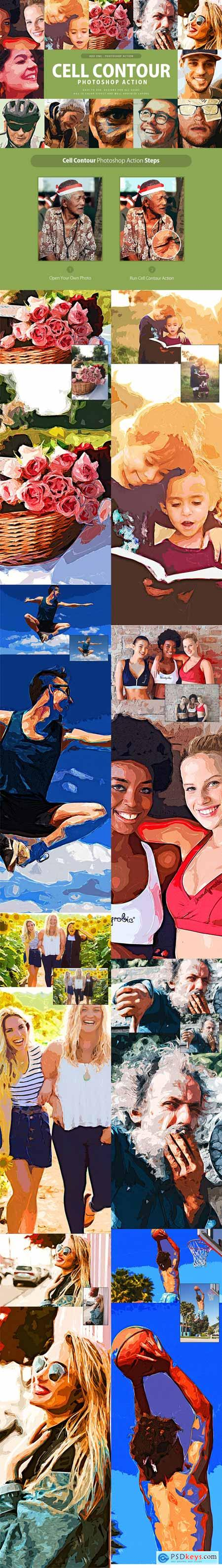Cell Contour Photoshop Action 3315973