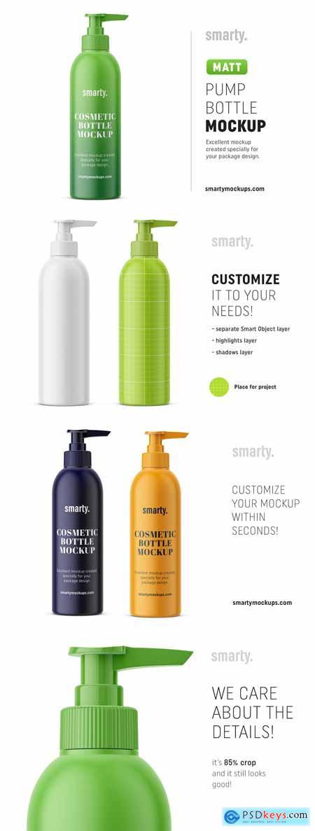 Cosmetic pump bottle mockup matt 3384787