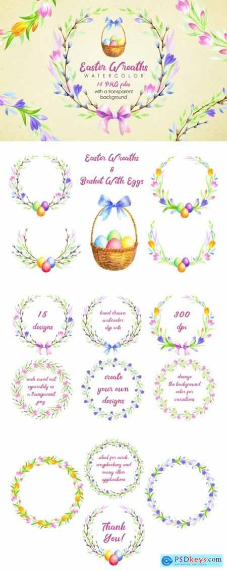 Easter Wreaths. Watercolor clip arts