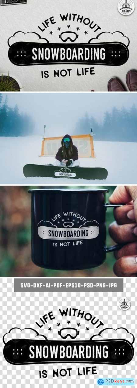 Retro Snowboarding Logo Winter Activity Badge