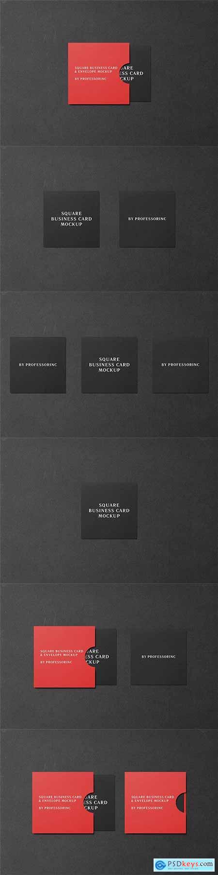 Square Business Card Mockup - Black Edition
