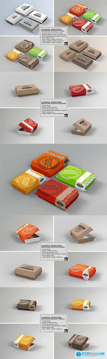 Paper Clamshell Takeout Packaging Mockups