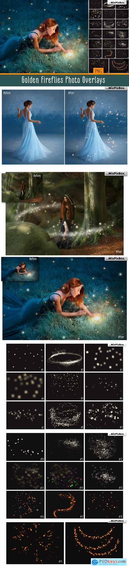 Golden Fireflies Photo Overlays 3407249