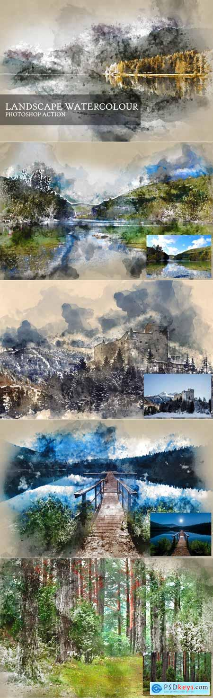 Landscape Watercolor Photoshop Action 3524862