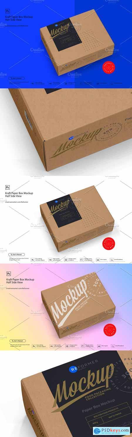 Kraft Paper Box Mockup Half Side Vie 3398671