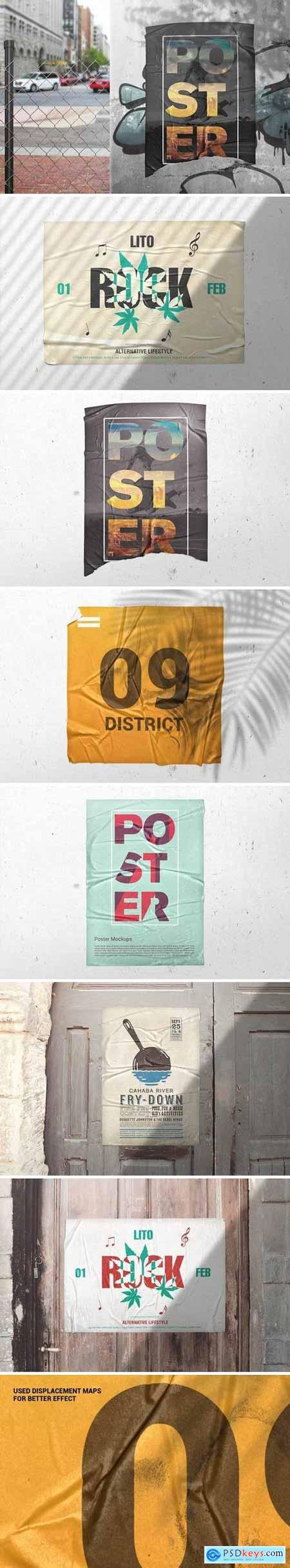 Poster Glued Effect Mockups