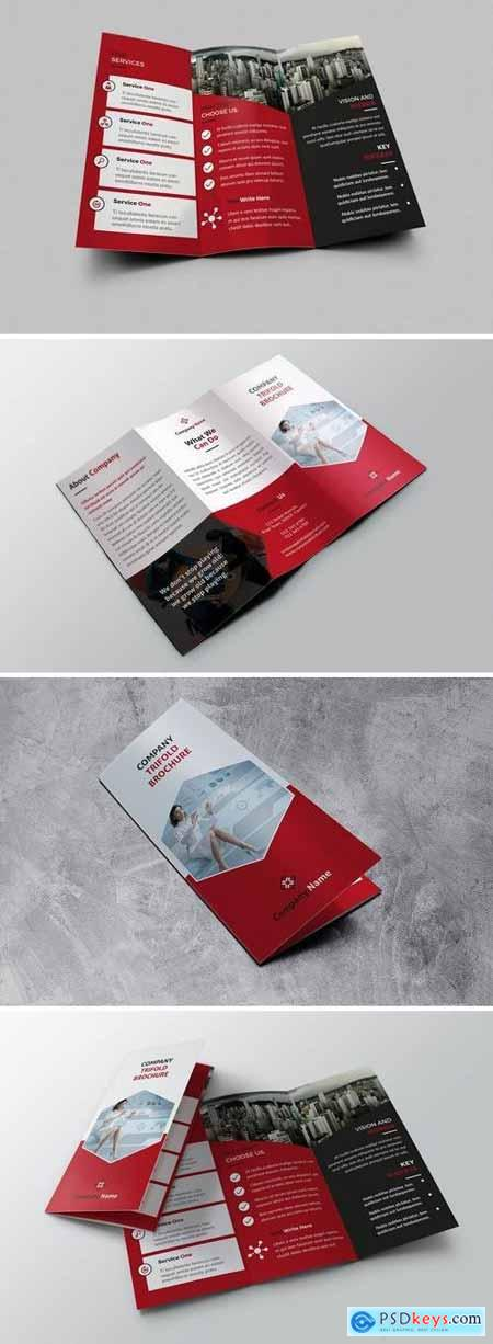 Trifold red Brochure