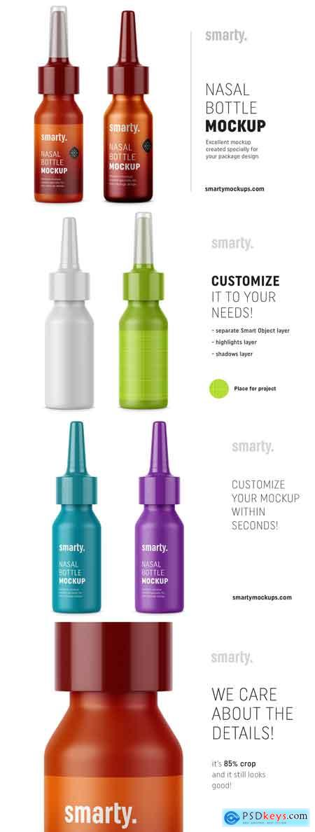 Plastic & metal nasal bottle mockups